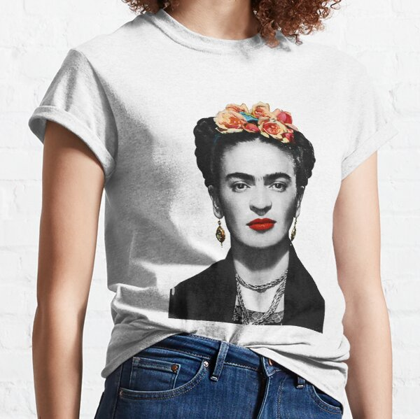 Frida Kahlo Portrait Black And White Classic T-Shirt