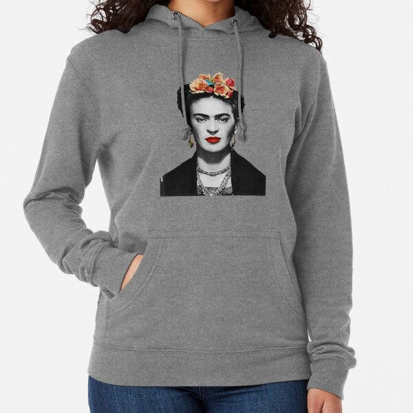 Frida Kahlo Portrait Black And White Lightweight Hoodie