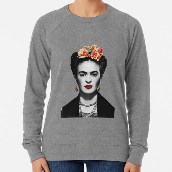 Frida Kahlo Portrait Black And White Lightweight Sweatshirt