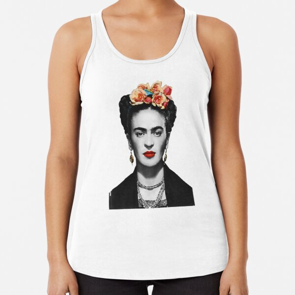 Frida Kahlo Portrait Black And White Racerback Tank Top