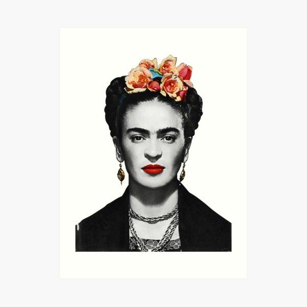 Frida Kahlo Portrait Black And White Art Print