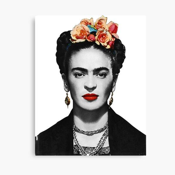 Portrait de Frida Kahlo noir et blanc Impression sur toile