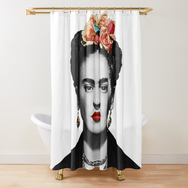 Frida Kahlo Portrait Black And White Shower Curtain