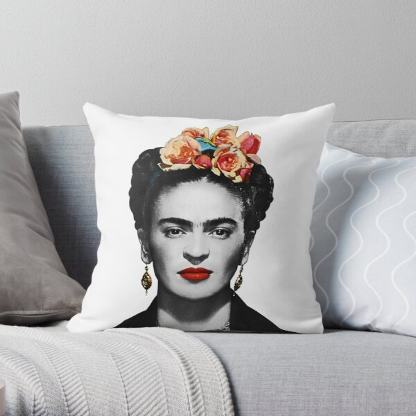 Portrait de Frida Kahlo noir et blanc Coussin