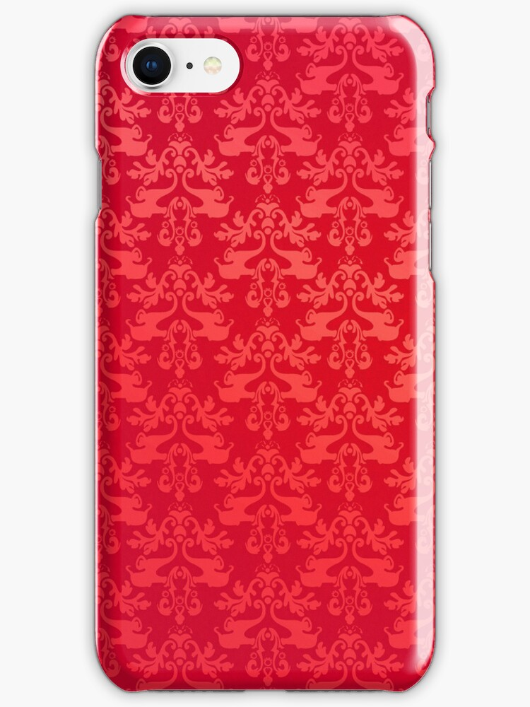 Red elephant damask i phone 4 case by Sarah Trett