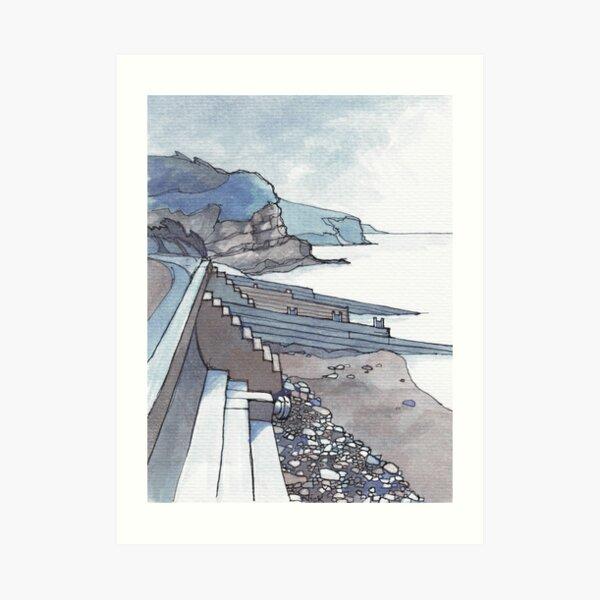 Sea Wall at Amroth Art Print