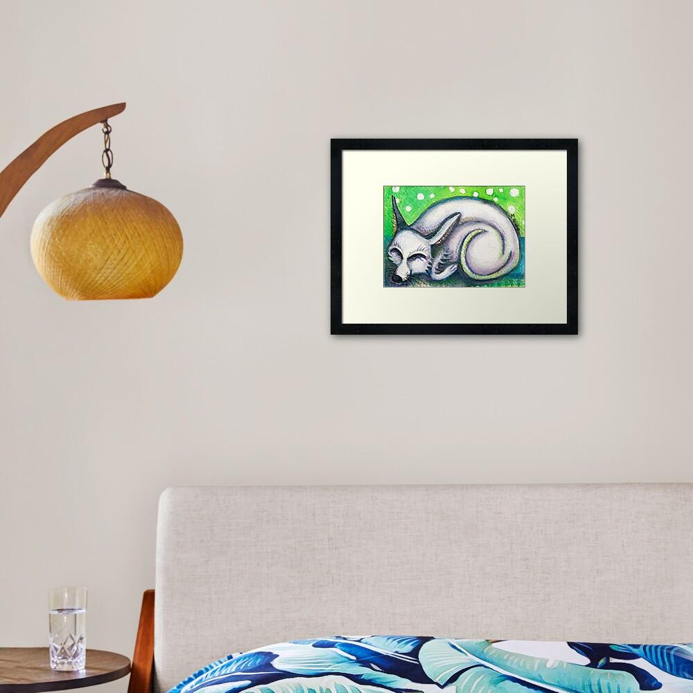 White Rescued Dog Framed Art Print