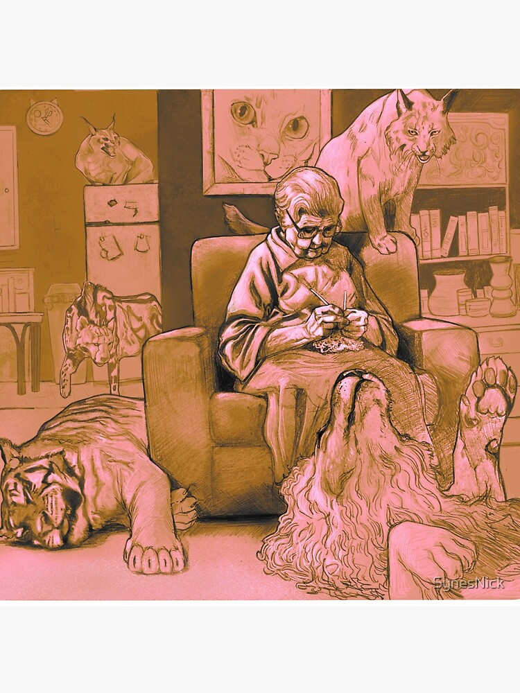 Cat Lady chilling knitting Graphic Illustration  by SynesNick