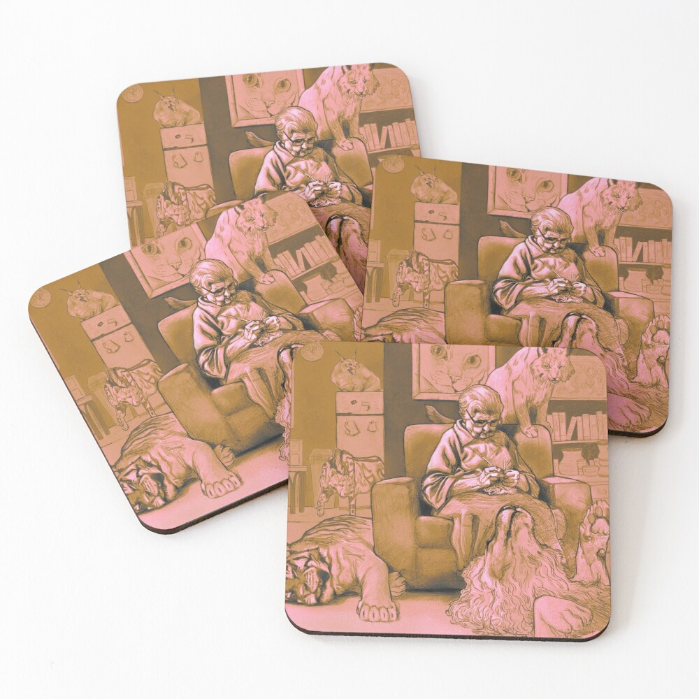 Cat Lady chilling knitting Graphic Illustration  Coasters (Set of 4)