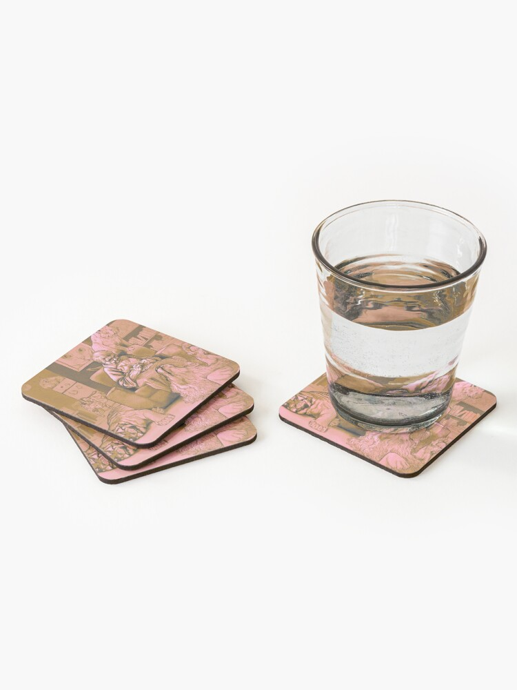 Alternate view of Cat Lady chilling knitting Graphic Illustration  Coasters (Set of 4)