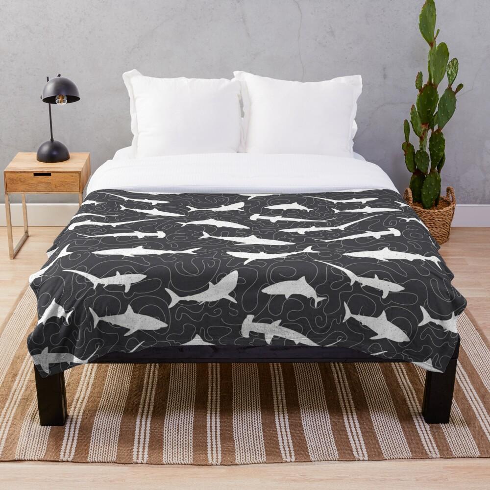 Shark Frenzy Pattern on Charcoal Grey Throw Blanket