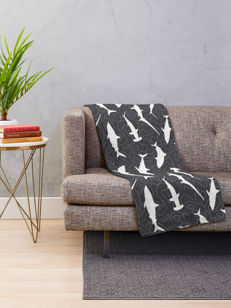 Alternate view of Shark Frenzy Pattern on Charcoal Grey Throw Blanket