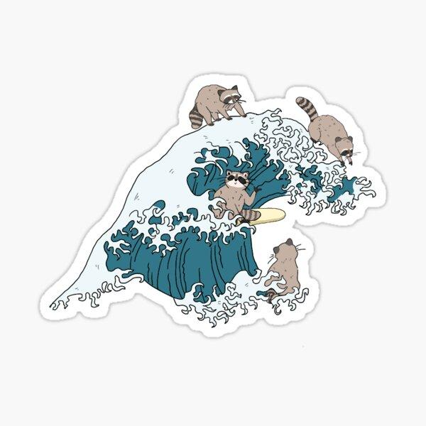 Surfing raccoons Sticker