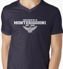 Universita di Monteriggioni (White) Men's V-Neck T-Shirt