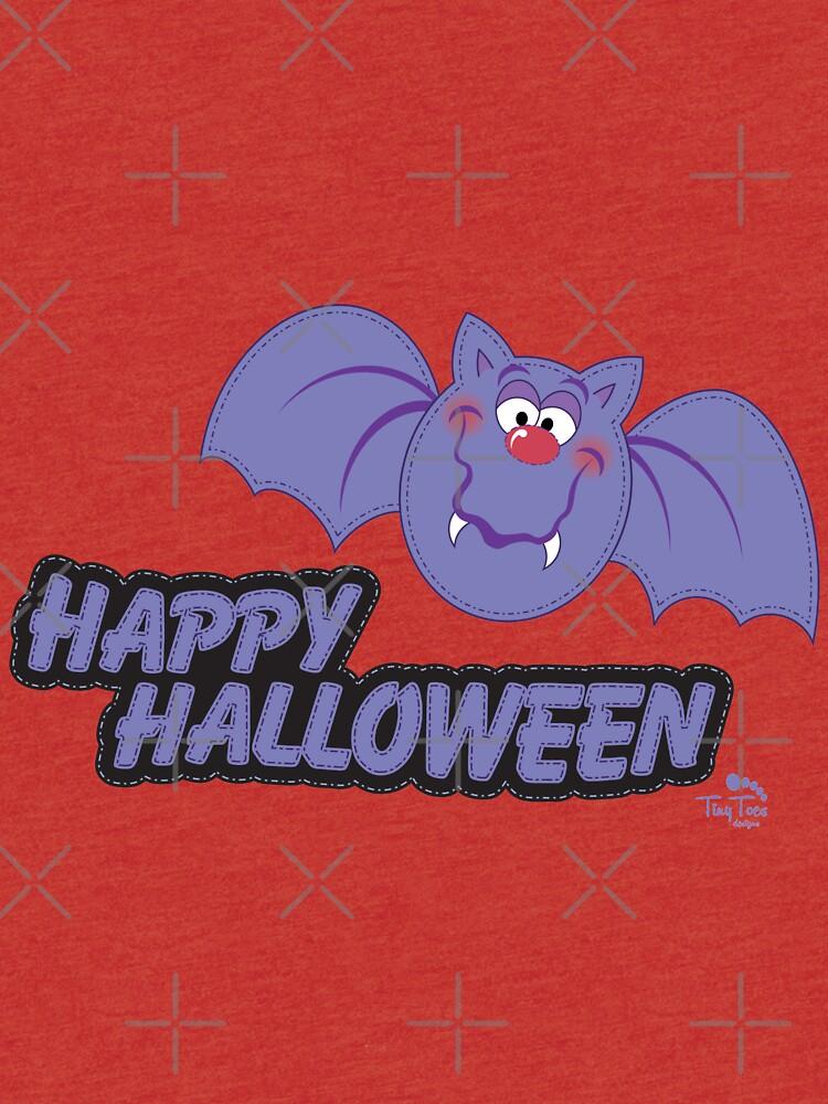 Purple Bat Happy Halloween by BadCatDesigns