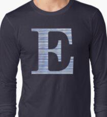 Letter E Blue Watercolor Stripes Monogram Initial Long Sleeve T-Shirt