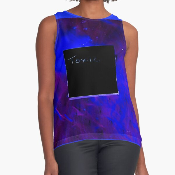 Bright Blue & Purple Colors and the Word Toxic Sleeveless Top