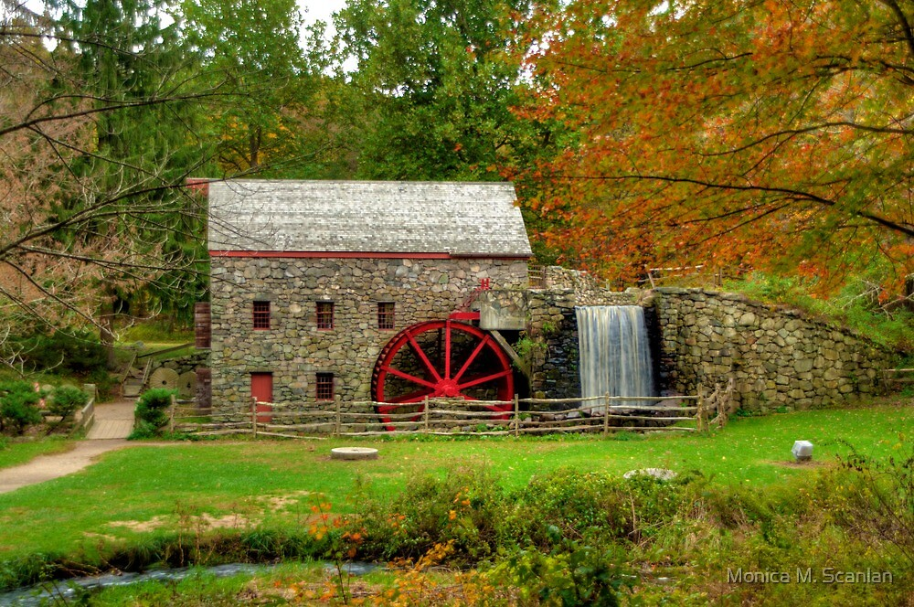Grist Mill at Wayside Inn by Monica M. Scanlan