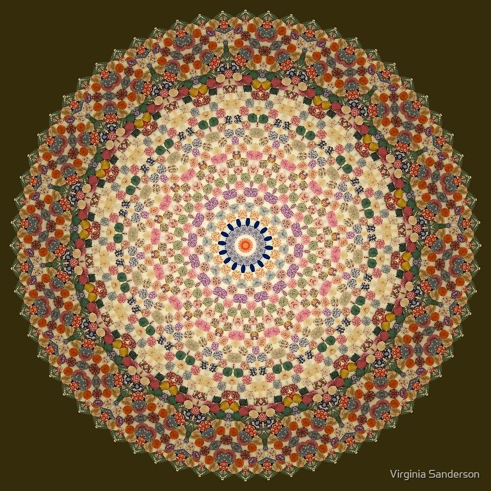 Vintage Textile YoYo Quilt Mandala by Virginia Sanderson
