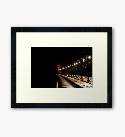 South Haven Lighthouse at Night Framed Print