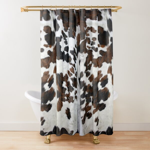 Cowhide Tan, black and white | Texture Shower Curtain
