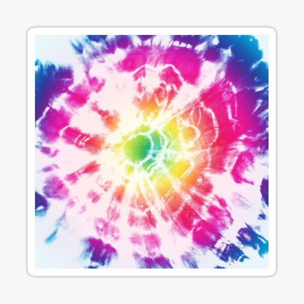 Tie Dye Rainbow Sunburst Sticker