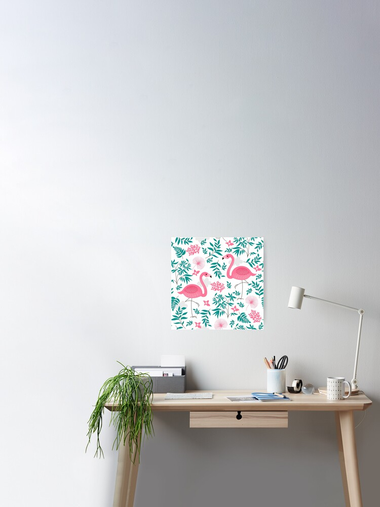 Cute Pink Flamingos And Tropical Leafs And Flowers Poster By Artonwear Redbubble