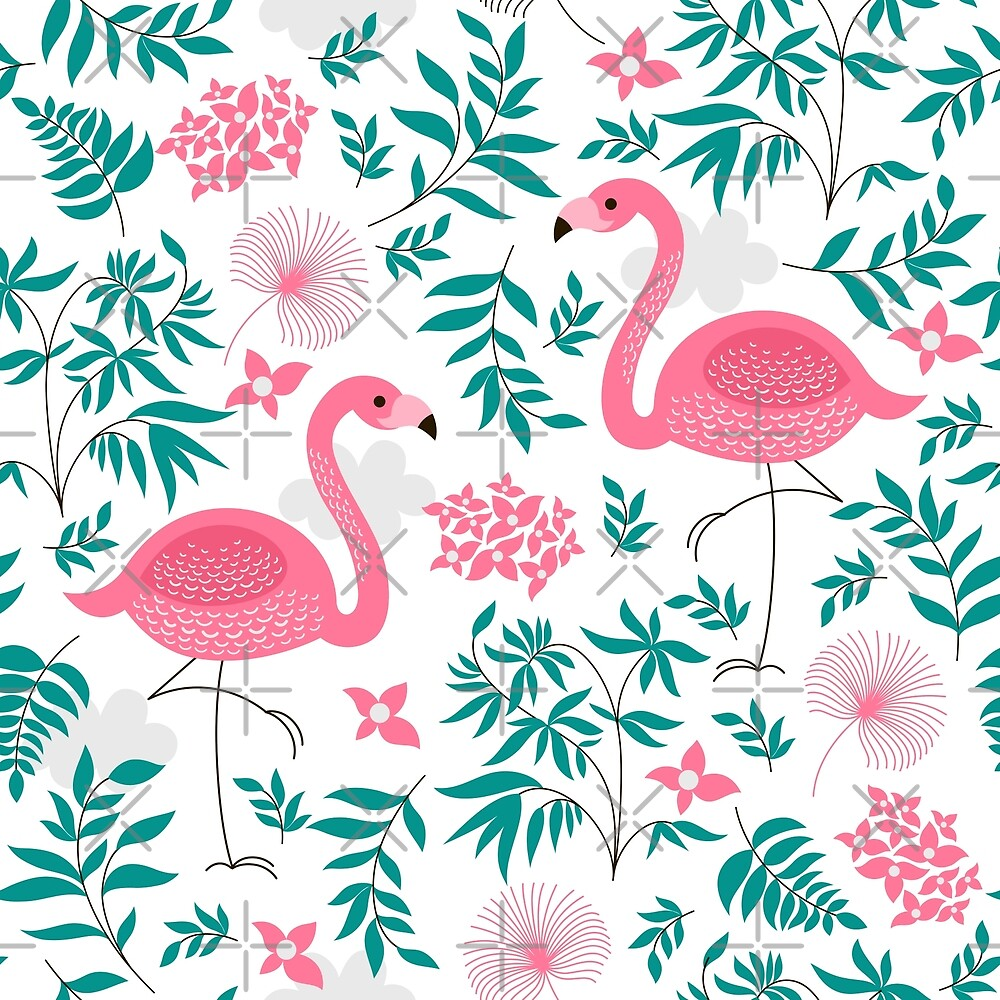 Cute Pink Flamingos And Tropical Leafs And Flowers by artonwear