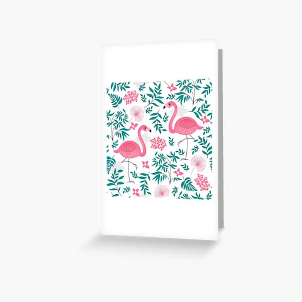 Cute Pink Flamingos And Tropical Leafs And Flowers Greeting Card By Artonwear Redbubble