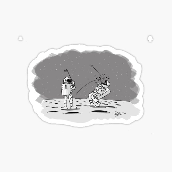Moon Golf - Space Cartoon Sticker