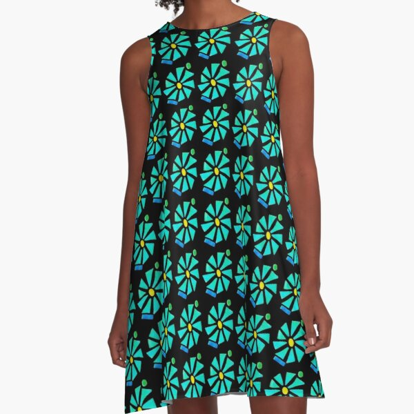 Glass Turquoise Bloom A-Line Dress