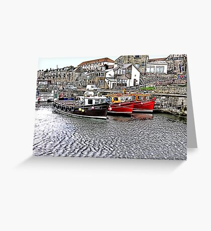 The Harbour at Seahouses,Northumberland Greeting Card