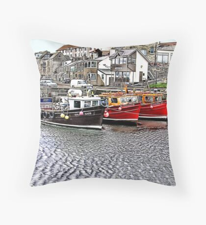 The Harbour at Seahouses,Northumberland Throw Pillow