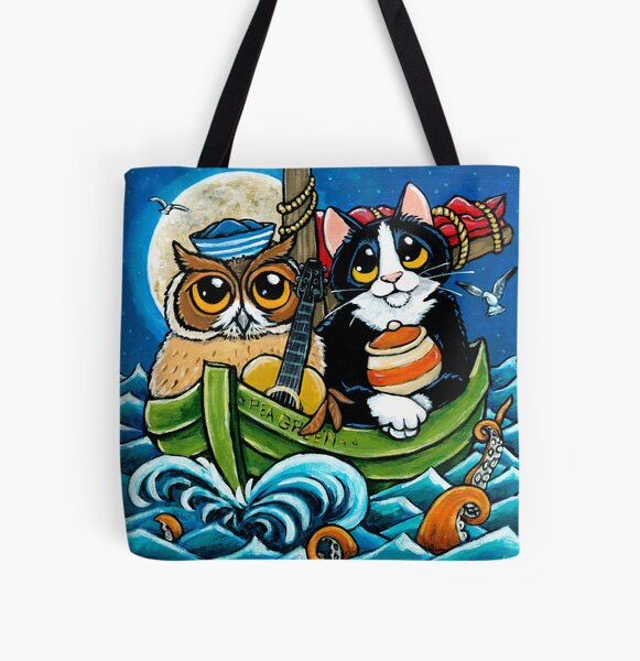 Owl and the Pussycat at Sea All Over Print Tote Bag