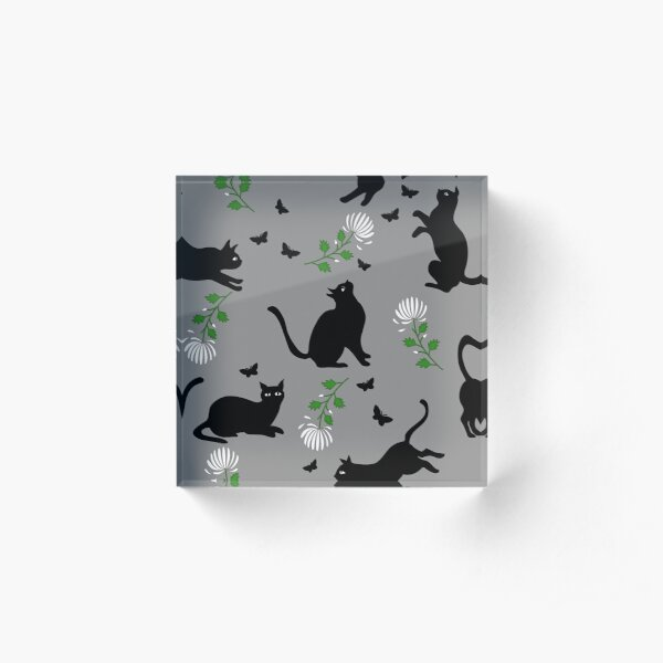 Black cats, white flowers and butterflies Acrylic Block