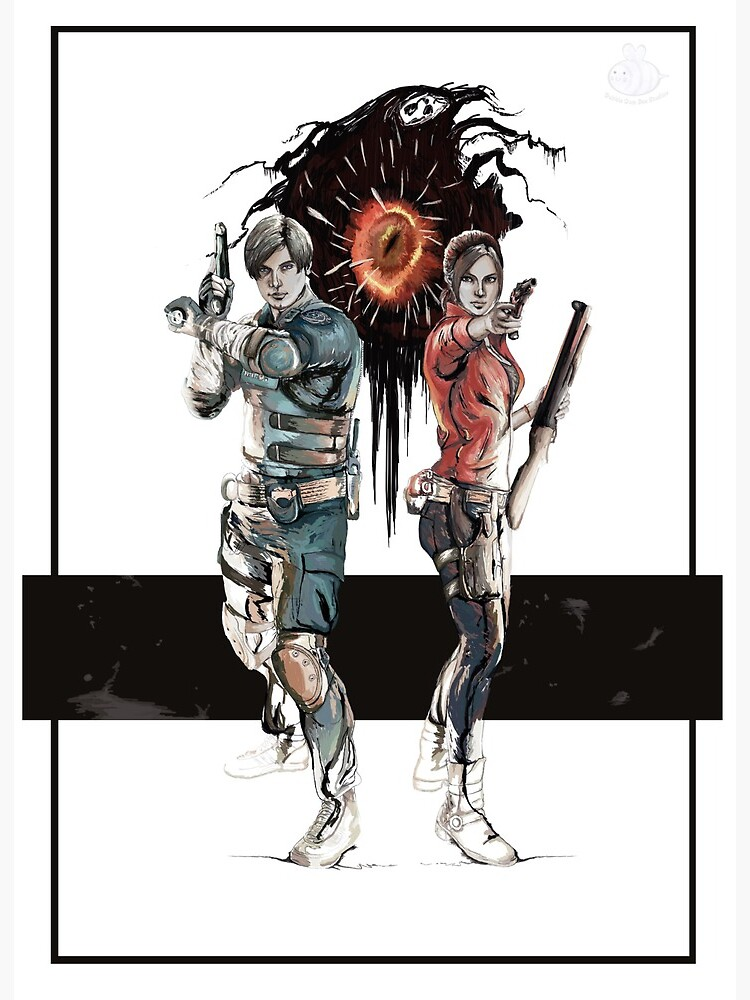 Resident Evil 2 Remake Leon And Claire Art Board Print By Bubblegumbeeart Redbubble