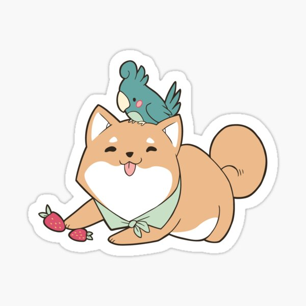 Shiba Inu Birb Best Friends Sticker Sticker