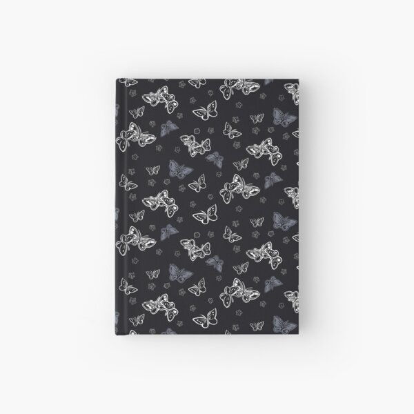 Butterfly and cherry blossom -black Hardcover Journal