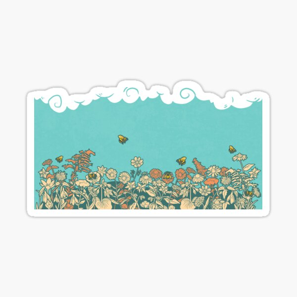 Bees Over Flower Meadow Sticker