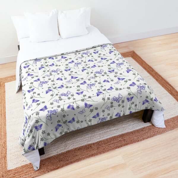 Butterfly and cherry blossom brunch- white  Comforter