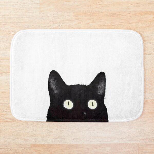 Black Cat Peeking Up Bath Mat