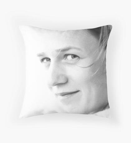 On white Throw Pillow