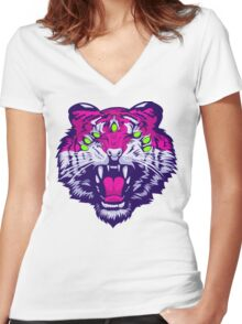 Seven-Eyed Tiger Women's Fitted V-Neck T-Shirt