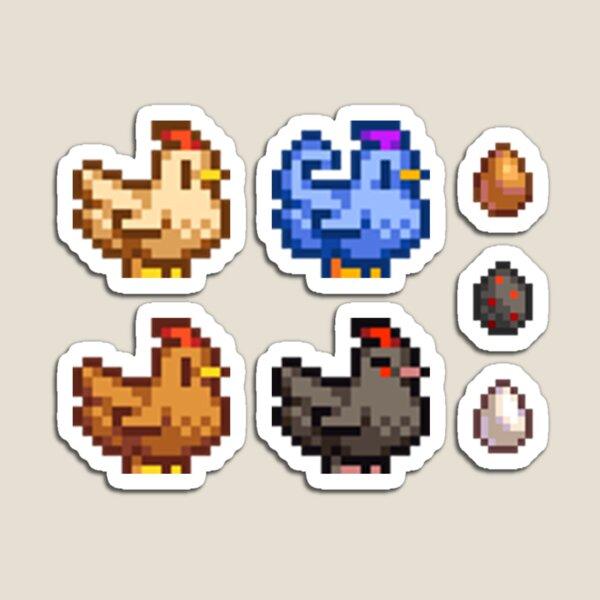 Stardew Valley Chicken Pixel Art Set Magnet