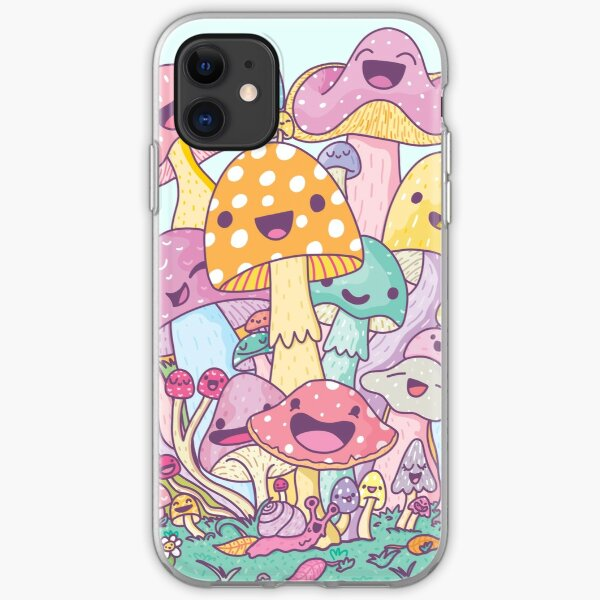 Happy Mushroom Patch iPhone Soft Case