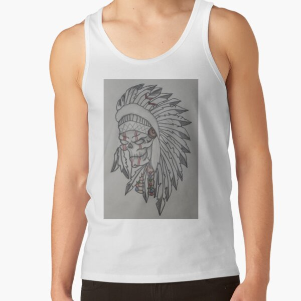 New Men/'s Lion Indian Headdress Red Tank Top Tribal Native Hipster Muscle Tee