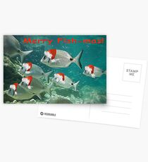 Fish Christmas Card: 3 Postcards