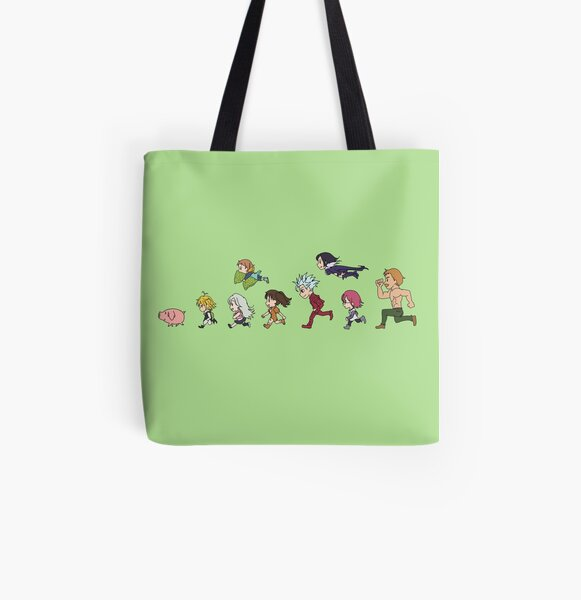 Seven Deadly Sins - Running Chibi All Over Print Tote Bag