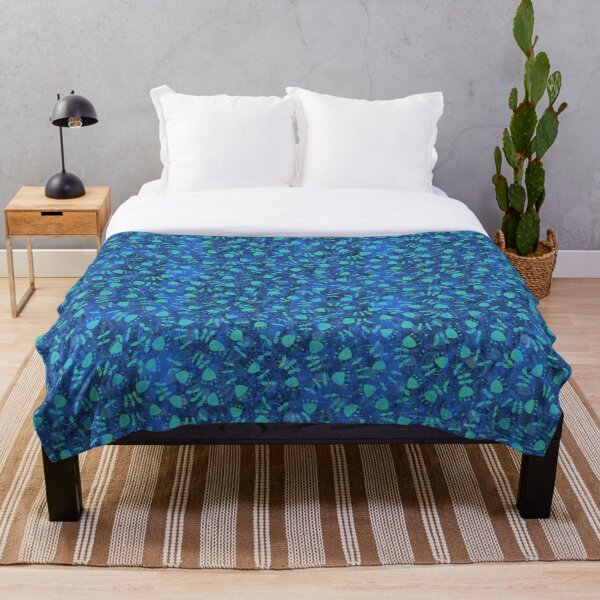 Abstract Flower in Aqua Throw Blanket