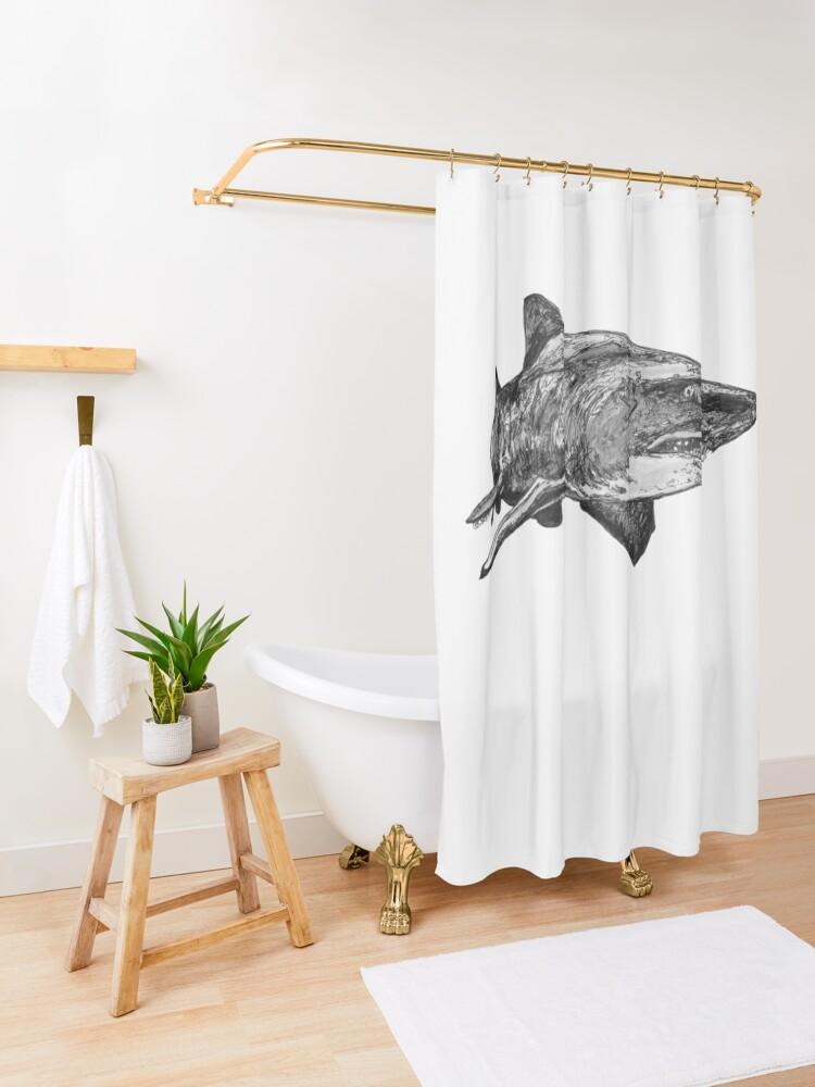 Alternate view of Mark the Grey Nurse Shark Shower Curtain